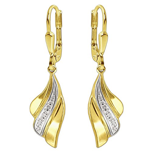 Clever Schmuck Goldene Damen Ohrringe als Ohrhänger 30 mm Flügel wellenartig 3-fach gefächert innen weiß rhodiniert bicolor glänzend 333 GOLD 8 KARAT für Damen