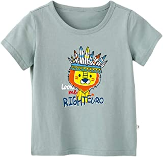 Mornyray Babyboys Summer Outfit Short Sleeve Cotton Top With Cute Cartoon Lion Printing Design Kids Casual Playwear Daily Outfit Fashion Wild Boys Sport Bottoming Tee(3-8T)