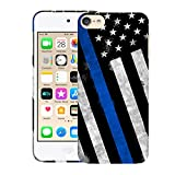 Glisten iPod Touch 7th / 6th / 5th Generation Case - Thin Blue Line USA Police Flag Design Printed Sleek, Slim Fit & Cute Plastic Hard Snap on Designer Back Case for iPod Touch 7th / 6th / 5th Gen.
