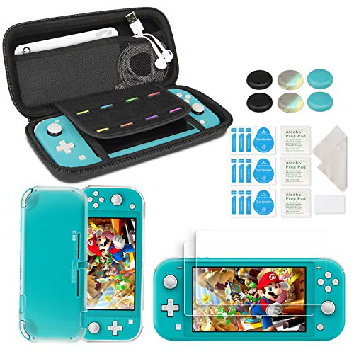 innoAura Accessory Kit for NS Switch Lite, Include Portable Carry Case with 8 Game Cartridge, Clear TPU Cover Case, [2 Pack] HD Tempered Screen Protector for Switch Lite Accessories