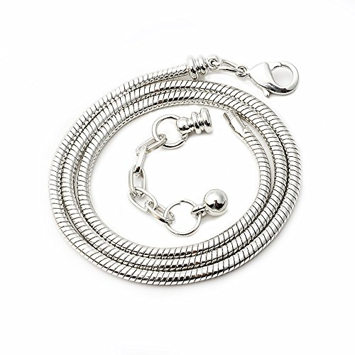 RUBYCA 10pcs 45cm Silver Tone Snake Chain Necklace European Charm Beads Lobster Clasp Making Jewelry by RUBYCA