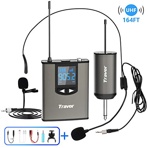 "Travor Wireless Microphone System Headset/Lavalier Lapel Mic 164ft Range with Rechargeable Bodypack Transmitter & Receiver 1/4"" Output for iPhone, PA Speaker, DSLR Camera, Recording, Teaching"