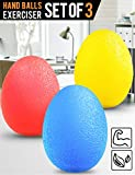 Dimples Excel Squeeze Stress Balls for Hand, Finger and Grip Strengthening-Set of 3 Resistance (Soft Yellow + Medium Red + Firm Blue)