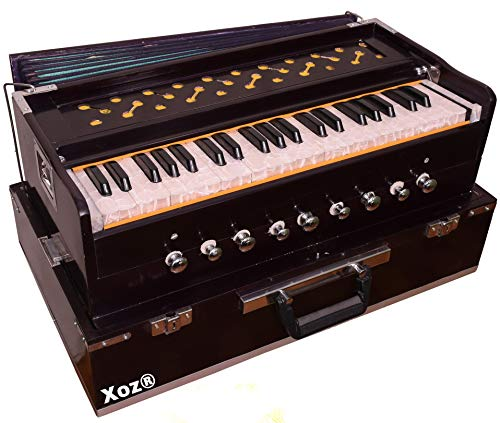Xoz high class sound quality 9 stoper two reed best wood 7 fold bellow 440 tuned musical instruments folding harmonium