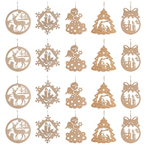 VALICLUD 50pcs Christmas Wooden Hanging Ornaments Hollow-out Household Pendant Party Favors