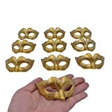 Mini Masquerade Masks Party Decorations - Yiseng 10pcs pack Supper Small Mardi Gras Venetian Gold Mask Decor Party Favors for Kids
