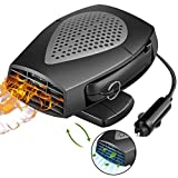 2020 Portable Car Heater, 12V Auto Heating Fan & Fan Cooler Defroster Defogger, Powerful Quiet Electric Cooling Automobile Vehicle Fan with Adjustable That Plugs into Cigarette Lighter/Low Noise