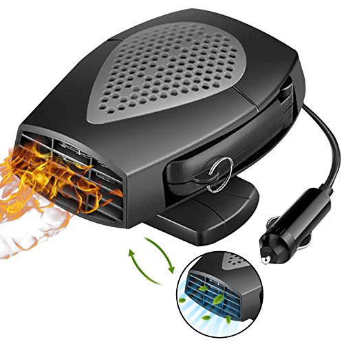 Portable Car Heater, 12V Auto Heating Fan & Fan Cooler Defroster Defogger, Powerful Quiet Electric...