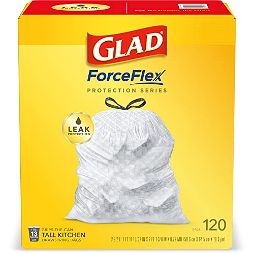 Glad ForceFlex Protection Series Tall Kitchen Drawstring Trash Bags, 13 Gal, Unscented, 120 Ct...