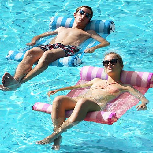 FindUWill 2-Pack Premium Swimming Pool Float Hammock, Multi-Purpose Inflatable Hammock (Saddle, Lounge Chair, Hammock, Drifter), Water Hammock Lounge (Pink and Lightblue)