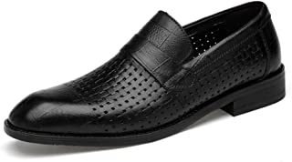 Kirabon Zapatos de Cuero, Vestido de Negocios con Punta Masculina, cinturón británico, Hueco, Marea Salvaje, Zapatos de Cuero para Hombres (Color : Black Punch, Size : 42)