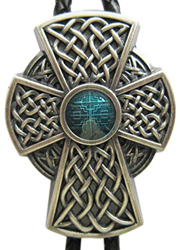 Vintage Silver Plated Celtic Blue Enamel Cross Knot Wedding Bolo Tie