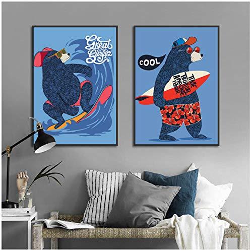 Nordic Cute Cartoon Surf Bear Animal Carteles e impresiones Nursery Baby Room Decoración Tabla de surf Lienzo Pintura Kids Wall Picture-50x70cmx2Pcs-Sin marco