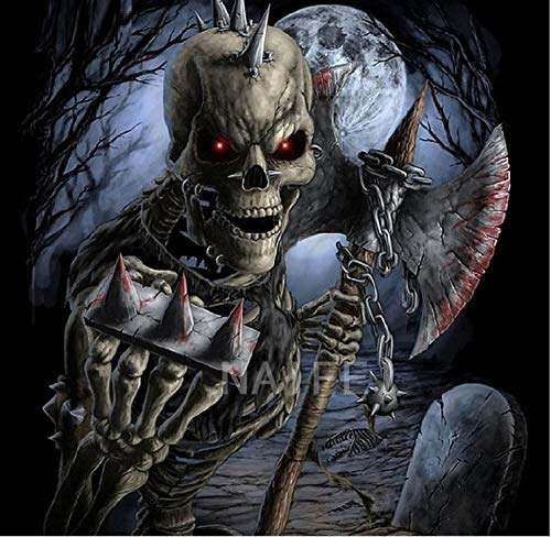 WEREWTR DIY Diamond Painting Needlework Full Diamond Embroidery Scary Skeleton Painting Pattern Halloween Home Decoration -60cmx70cm