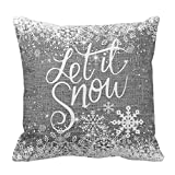 Throw Pillow Covers Christmas Let It Snow Lettering Saying Phrase with Snowflake Cotton Linen Burlap Print Decorative Pillow Covers Winter Xmas Season Blessing Gift for Home Sofa Decor 18 x 18 Inch