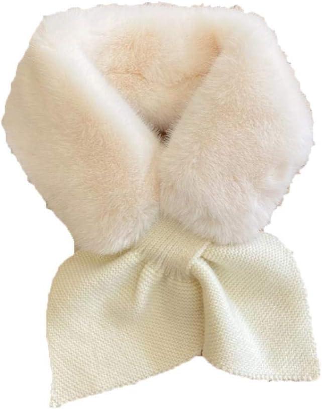 Kentop Women's Winter Fake Faux Fur Loophole Plush Collar Scarf Rectangle Furry Wrap Warm Soft Cozy Peach Heart Shaped Scarf