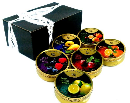Cavendish & Harvey Drops 6-Flavor Variety: One 5.3 oz Tin Each of Orange, Mixed Fruit, Pear & Blackberry, Wild Berry, Sour Cherry, and Sour Lemon in a BlackTie Box (6 Items Total)