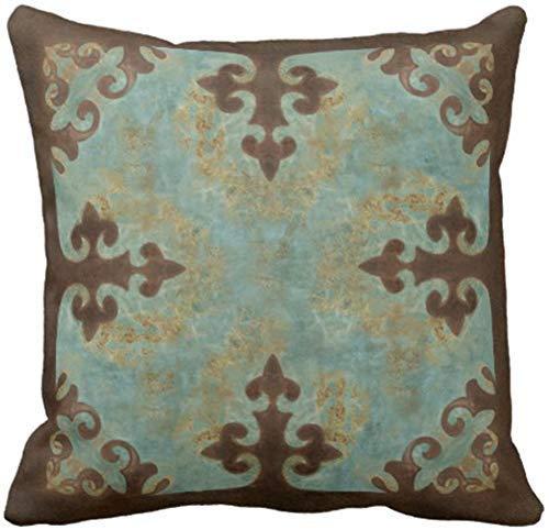 ZQLXD Funda de almohada de piel vaquera turquesa occidental de piel piel piel sintética decorativa para decoración del hogar cuadrada 45,7 x 45,7 cm