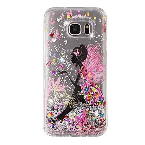 Nodigo Funda Compatible con Samsung Galaxy S7 Edge Glitter 3D Silicona Transparente Agua Dibujos Motivo One Piece Carcasa Case Antigolpes TPU Bumper Kawaii Resistente Cover - Chica B