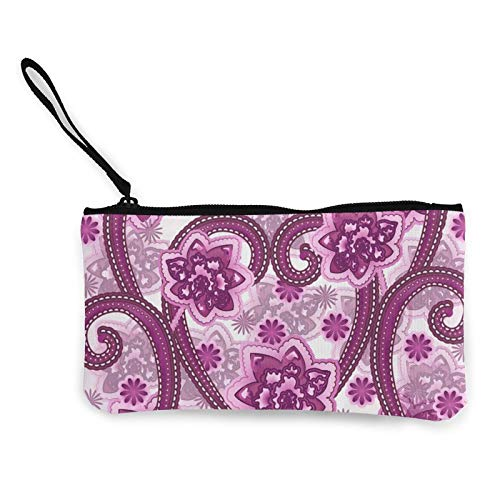 Monedero de lona floral y decorativo, bolsa de cosméticos pequeña con cremallera, bolsa para teléfono móvil con asa