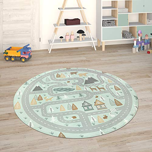 Paco Home Kinderteppich Teppich Kinderzimmer Spielmatte Straßenteppich Spielteppich, Grösse:80 cm Rund, Farbe:Türkis