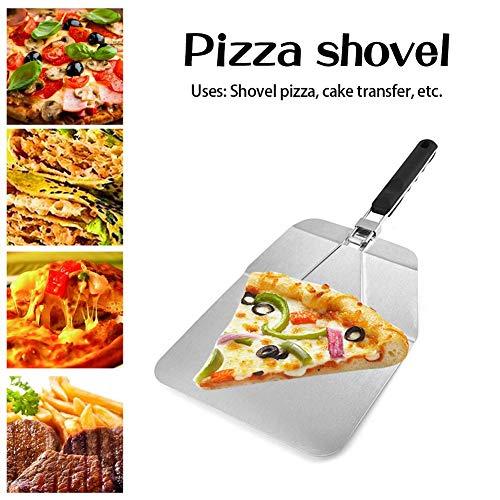 Moldes para Pizza, Palas de Pastel de Transferencia de Seguridad cuadradas Herramientas para Hornear Pala de Pizza Plegable de Acero Inoxidable