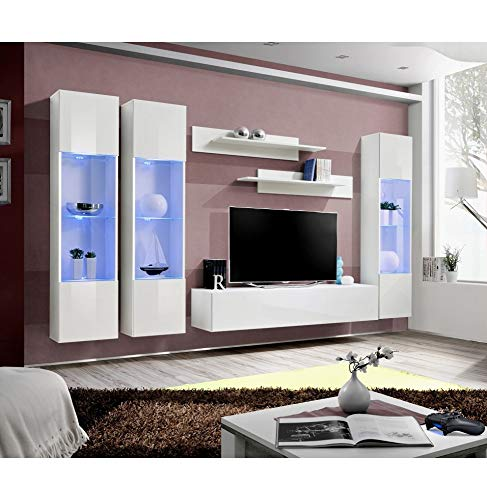 Ensemble TV avec LED - 6 éléments - Blanc