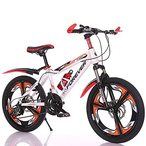 SXZSB Bicicleta para Niños, Bicicleta De Suspensión para Niños Y Niñas, 21 Velocidades, Adecuada para 6-10 Años, con Botella De Agua Y Soporte,Blanco