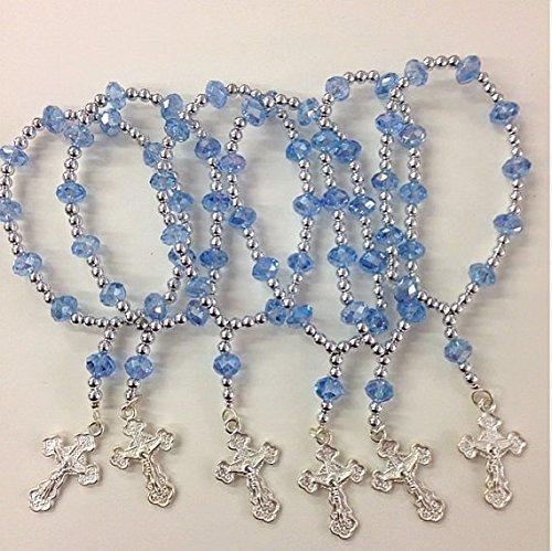 Blue Crystal Rosary Bracelet Rhinestone Cross 12 Pcs/pack - Baptism Favor/Wedding Favor/First Communion Favor/Quinceanera Party Favor