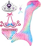 Le SSara 5 Piezas Traje de Baño para Niñas Colas de Sirena para Nadar Princesa Bikini Conjunto de Trajes de Baño Regalo de Cumpleaños 3-12 años (sin monoaleta) (GB35+5Pur, 3-4 Años)