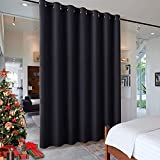 RYB HOME Blackout Thermal Insulated Blind Curtains, Noise Reduce Barrier for Nursery, Portable Curtain for Sliding Glass Door / Storage / Space Room Divider, 7 ft Tall x 8.3 ft Wide, Black, 1 Panel