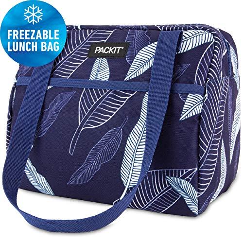 PackIt Freezable Hampton Lunch Bag, Navy Leaves