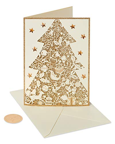 Papyrus Christmas Cards Boxed, Gold Glitter Holiday Chrismtas Tree (8-Count)