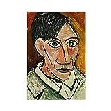 Poster sur toile autoportrait Picasso 17 - Décoration murale pour salon, chambre à coucher - Sans cadre : 60 x 90 cm