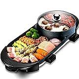 Gmadostoe Hot Pot Multifuncional, Cubierta Teppanyaki Grill, de Gran Capacidad de los hogares Cacerola Antiadherente de Cocina eléctrica con 5 ajustes de Temperatura, para reuniones Familiares