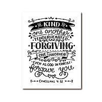 聖書の詩は親切な引用を印刷しますクリスチャンポスター現代のミニマリストの聖書の引用壁の芸術の絵家の装飾キャンバスの絵画-50x70cmx1フレームなし