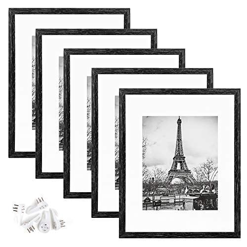 upsimples 11x14 Picture Frame Set of 5,Display Pictures 8x10 with Mat or 11x14 Without Mat,Wall Gallery Photo Frames,Vintage Black