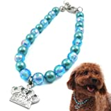 Designer Pet Jewelry - Crystal Crown Pearl Necklace