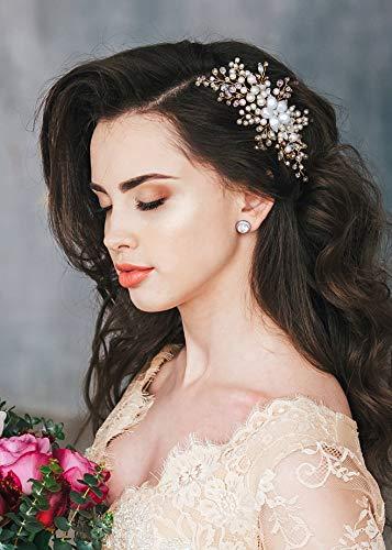 Kercisbeauty Haarschmuck, für Hochzeiten, Brautjungfern, Blumen, Mädchen, große Perlen, süße Blume, rosa Kristall, Haarschmuck, lange gelockt, für Hochzeiten