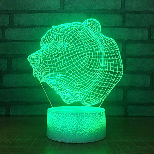T-YXM 3D LED pequeña Noche Leopardo luz Cabeza Noche acrílico lámpara cabecera USB Mesa lámpara Dormitorio Ambiente luz Regalo