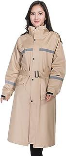 PENGFEI レインコートポンチョ 防水 ロングトレンチコート 帽子の庇 徒歩で ライディング 柔らかい カップル、 5色 6サイズ (色 : ベージュ, サイズ さいず : M)