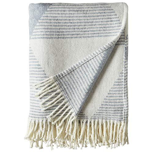 Amazon Brand – Rivet Geo Throw Blanket, Soft and Stylish, 50' x 60', Ivory and Blue