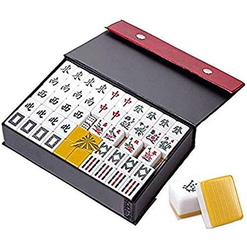 Mahjong Game Set, Klassieke Mah Jongg Rij Spellen Mini-Doos Met 144 Stenen Geschenkideeën Strategie Spel Voor Travel Journey Party Game,White