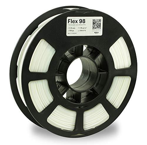KODAK FLEX 98 Flexible 3D printer filament TPU WHITE +/-0.03 mm, 750g (1.6lbs) Spool, 1.75 mm. Lowest moisture premium 3D printer flex filament in Vacuum Aluminum Ziploc bag. Fit Most FDM Printers