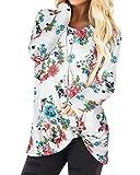 YOINS Donna Maglia Manica Lunga Camicetta Casuale Camicia con Incrociato Frontale Maglietta Asimmetrico T-Shirt Loose Fit Felpa Top Fiore-Bianco S
