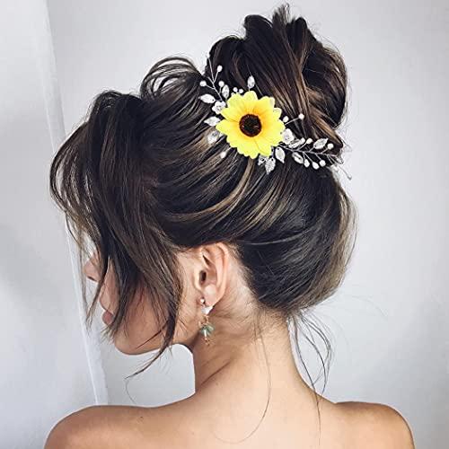 Zoestar Diadema de girasol de plata para novia, para boda, accesorio para el cabello de novia, para mujeres y niñas