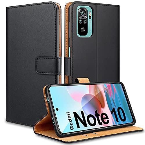 YNMEacc Handyhülle für Xiaomi Redmi Note 10 4G Hülle, Premium PU Leder Tasche Flip Hülle Brieftasche Klappbar Schutzhülle für Xiaomi Redmi Note 10 4G / Redmi Note 10S Schwarz
