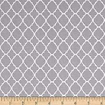 Fabric & Fabric Petit Quatrefoil Gray/White Fabric by the Yard