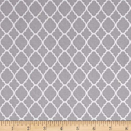 Fabric & Fabric Petit Quatrefoil Gray/White Fabric by the Yard