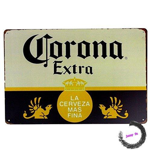 Yurkie Dec Metal Letrero Metal Metal Lata Cartel Corona Extra Cerveza Metal Arte Póster Bar Tienda Pub Decoración Artesanía Pintura de Pared